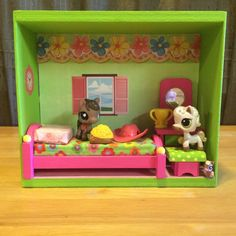 Littlest Pet Shop Wooden Doll House Furniture Lot Accessories/Pets Not Included