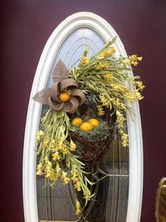 "Spring Wreath Easter Wreath Summer Wreath Grapevine Oval Wreath Basket Decor...""Lemons"". $80.00, via Etsy."
