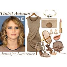Tinted Autumn - Jennifer Lawrence by prettyyourworld on Polyvore featuring beauty, Chantecaille, Anna Sui, Dolce&Gabbana, Nanis, Justine Clenquet, The Limited, Chloé and Vince Camuto