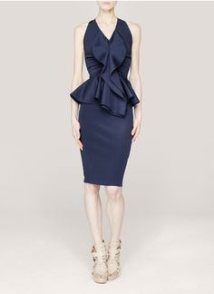 I am in love with this Givenchy - Ruffled peplum dress | Blue and Green Knee-length Dresses | Womenswear | Lane Crawford - Shop Designer Brands Online #navy