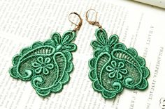 SPRING FEVER lace earrings DARLA green by tinaevarenee on Etsy, $22.00