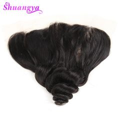 shuangya hair Brazilian loose wave hair lace frontal closure 13*4 inch free part 100% human hair non-remy hair full and thick