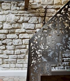 Incredible laser-cut work on this staircase!