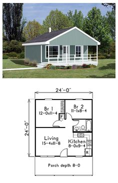 #Tiny #HousePlan 85939 is 576 square feet in size with a generous covered front porch. An open space accommodates the living room and kitchen while two bedrooms and a bathroom occupy the rear of the home. Overall dimensions are 24' by 24' excluding the porch.