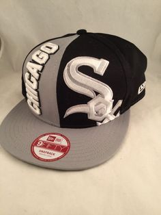 616c6d24646 NEW ERA Chicago White Sox 9Fifty MLB Baseball Ball Strap Back Hat Cap  Blk Silver