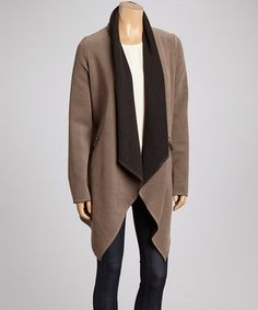 Look what I found on #zulily! Black & Khaki Shawl Collar Coat by Ju's #zulilyfinds