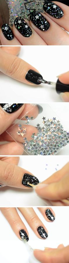 Starry Night | Easy New Years Eve Nail Designs | Beautiful Glitter Nails Designs Bling