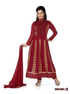 Buy Maroon Faux Georgette Floor Touch Anarkali Suit, Designer Long Anarkali Suit of the women are still fashion conscious thus this Anarkali Suit has seen various changes in terms of designs, style, and patterns. Glamour Beauty designer Anarkali Suit collections are always liked by women in Indian Style.