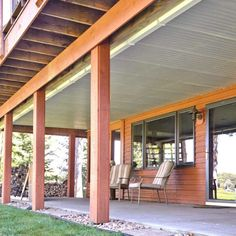 Convert the space under a second-story deck into a dry, spacious patio by installing this simple, under deck ceiling and gutter system. Under Deck Roofing, Patio Under Decks, Small Patio, Deck Stairs, Patio Roof, Attic Stairs, Patio Wall, Roof Design, Deck Design