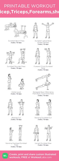 "Plan Skinny Workout - Arms(Bicep,Triceps,Forearms,shoulders): my custom printable workout by Watch this Unusual Presentation for the Amazing to Skinny"" Secret of a California Working Mom Biceps And Triceps, Biceps Workout, Gym Workouts, At Home Workouts, Bicep Workout Women, Forearm Workout, Exercises For Forearms, Barbell Workout For Women, Workout Tips"