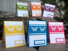 Stampin' Up Handmade Card Set  Assorted Butterfly by TouchingPaper, $15.00