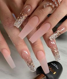 Acrylic Nails Coffin Pink, Coffin Nails Long, Stylish Nails, Trendy Nails, Milky Nails, Acylic Nails, Glamour Nails, Fire Nails, Nagel Gel