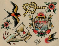 Nautical Tattoo Flash by ParlorTattooPrints on Etsy https://www.etsy.com/listing/106341958/nautical-tattoo-flash