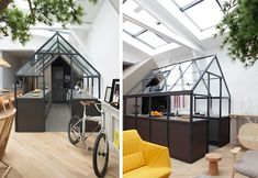 A kitchen inside a greenhouse – how whimsical! French architect Gregoire de Lafforest (projects include Hermès Paris headquarters) designed his own loft in a converted warehouse on the rue Victoire, Paris. Using a greenhouse kit from the Garden Factory (painted and customized), he sectioned off a kitchen space and installed Ikea components to keep costs down.