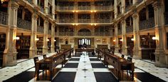 The GEORGE PEABODY LIBRARY, MARYLAND. Considered to be one of the worlds top 10 most beautiful libraries.
