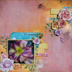 """embelishments in the corner match the photo (Entry to 7 Dots Studio """"Gardening"""" challenge by Heather"""