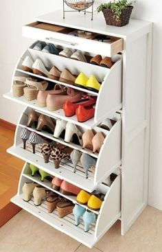 From IKEA, a compact dresser that houses 27+ pairs of shoes and a top drawer for jewelry and other small sundry.