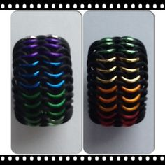 Rainbow Chain Mail Ring. Made by #ChainedDragonDes.com #rings #chainmail