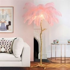 Tree Floor Lamp, Tree Lamp, Pink Floor Lamp, Pink Lamp, Feather Lamp, Feather Light Shade, Feather Tree, Beauty Room Decor, Beauty Salon Decor
