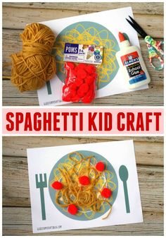 Spaghetti With The Yeti - Kid Craft Idea w/free printable - Glued To My Crafts Kids Food Crafts, Daycare Crafts, Toddler Crafts, Preschool Crafts, Diy Crafts For Kids, Art For Kids, Crafts 2 Year Old, Carta Collage, Italy For Kids