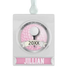 World's Greatest #Golfer | #Personalize | Classy Silver Plated Banner #Ornament #golf #zazzlebesties #gift