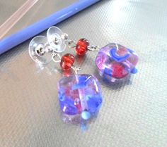 Lampwork Earrings Handmade Jewelry Contemporary by CandanImrak