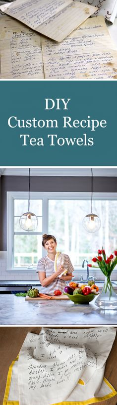 Turn your hand written recipes into tea towels with this easy tutorial.  You can turn your favorite hand written recipe into a family keepsake or memorable gift!  Click to see the easy-to-follow tutorial with lots of pictures.