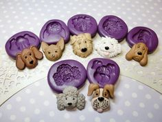 Dogs Face Set (23-30mm) Mold, Hound Beagle Chiwawa Maltese Poodle Boxer Dog Cupcake Topper Mold, Clay Mold, Icing Fondant Chocolate Mold