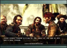 From left to right: Stede Bonnet, Benjamin Hornigold, Charles Vane, Mary Read (aka James Kidd), and Edward Thatch (aka Blackbeard)