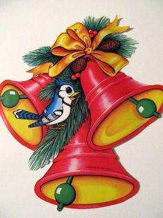 Retro Christmas Beistle Smiling Blue Jay Bells Pine Vintage Die Cut Decoration Window Bulletin Board on Etsy, $4.80