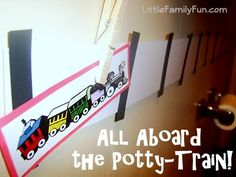 A fun way to help little boys with potty-training: make a potty-train!! Choo choo!