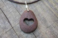 Lake Superior rock necklace heart rock by WoodlandInspiration