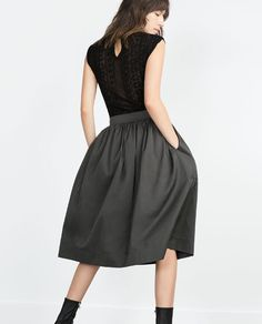 Midi skirt, dark grey - Zara