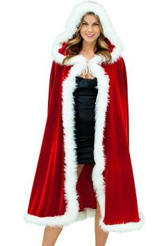 Sexy Christmas Costumes For Women A Christmas Long Velvet Cape with white fur trimming Christmas Accessories Cape Costumes For Sale, Costumes For Women, Rouge Velvet, Red Velvet, Cosplay, Wedding Sweater, Santa Outfit, Hooded Cloak, Vestidos