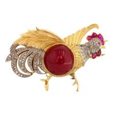 Carnelian Ruby Diamond Gold Rooster Brooch | From a unique collection of vintage brooches at https://www.1stdibs.com/jewelry/brooches/brooches/