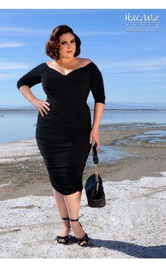 Potential Base Dress - Black wiggle dress, plus size, body shaping, built-in shaper, crossover bust, off-shoulder, matte knit, multi-purpose, little black dress