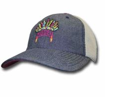Gray Cap with headdress HOOEY symbol and light khaki mesh back and magenta stripes. 60% Cotton 40% Polyester. Low Profile crown. One Size Fits Most - Classy Cowgirl Co- Gypsy Cowgirl ,Fun & Funky West