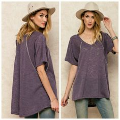 Heather Berry Top So soft, comfy light weight sheer sweater top. Featuring a short sleeve and v neck tunic with stitch   Made in USA  Ladies, wear this top when it's chilly outside or in a cold office at work!  Tops Tees - Short Sleeve