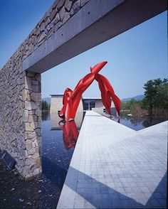 """Hansol Museum, Wonju, South Korea designed by Tadao Ando :: """"Archway"""" sculpture by Alexander Liberman"""