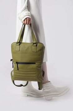 Power olive two in one unisex leather bag, silk lining, zip fastener, Italian leather, perfectly fits 15 inches Apple Macbook, made in Europe