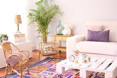 salón con muebles de mimbre y palets alegre