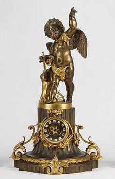 """19th C. French Gilt And Patinated Bronze Clock, 31""""h"""