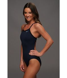 Nike Solid Poly Lingerie Tank One Piece Navy