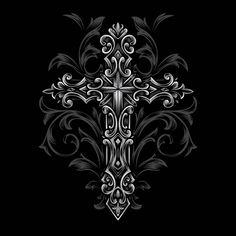 Discover thousands of Premium vectors available in AI and EPS formats Gothic Crosses, Wood Crosses, Cross Tattoo Designs, Cross Art, Sleeve Tattoos, How To Draw Hands, Canvas Prints, Ornaments, Drawings
