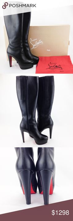 """Christian Louboutin """"Lady Boot Shiny Calf"""" Boots Christian Louboutin Black Leather Tall """"Lady Boot Shiny Calf"""" Platform Boots in great condition! 100% authentic. Made in italy. Size 39. Originally $1495.   Features: - black leather with tonal stitching - knee high - inside zipper  - expandable elastic vents - approx. 5"""" heel height with approx. 1.5"""" platform - neutral leather lining - signature red bottom lacquered soles  Includes: - original box - dust bags   Size: 9 Gently Used Christian…"""