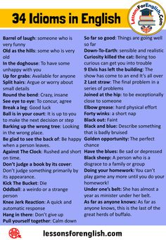 34 Idioms and Meaning in English - Lessons For English Teaching English Grammar, English Writing Skills, English Vocabulary Words, Grammar And Vocabulary, English Idioms, English Phrases, English Language Learning, English Lessons, Interesting English Words