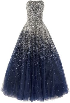 "Starry night dress. A formal version of a Galaxy dress. The deep navy mixed with the crystal ""stars"" is so pretty. I love the way stars transition on an angle from a clustered crystal bodice to a galaxy skirt. The use of tulle in the skirt also lends to an ethereal feel. I'm not a fan of the mass-marketed ""generic strapless"" dresses, but this comes close to perfect."