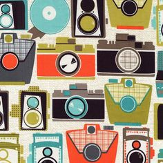 Cameras in Jewel Urban Mod Mod Guys Fabric Michael by FabricBubb, $9.00