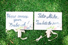 Philippines destination wedding flower girl + ring bearer aisle signs. || Seen on: http://www.jetfeteblog.com/asia/beach-destination-wedding-philippines || Photos by: http://www.nezcruz.com/