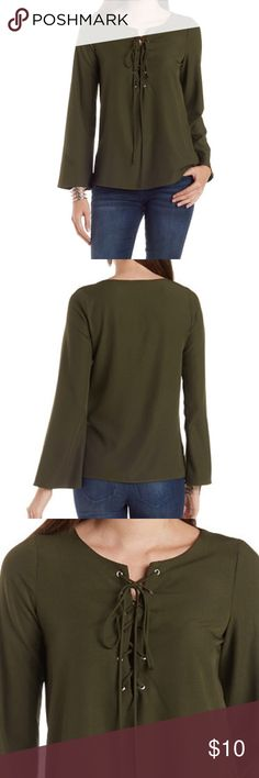 Green lace up top NWOT Long bell-sleeve top with lace up detail Tops Blouses